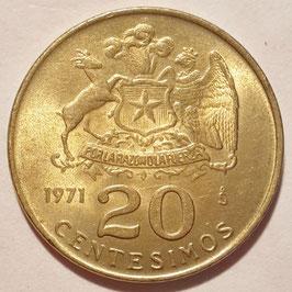 Chile 20 Centesimos 1971-1972 KM#195