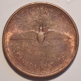 Canada 1 Cent 1967 - 100th Anniversary of Canada (1867-1967) KM#65
