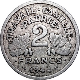 France 2 Francs 1944 Castelsarrasin KM#904.3 VF