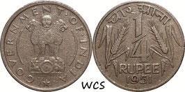 India ¼ Rupee 1951 C KM#518 VF-