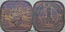 Malaya 1 Cent 1943 KM#6 VF-