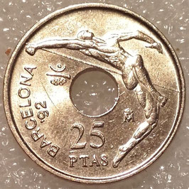 Spain 25 Pesetas 1990-1991 - Summer Olympics Barcelona 92, high jump KM#851