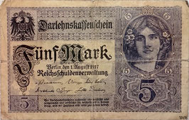 Germany 5 Mark 01.08.1917 Ro 54a Series X