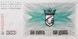 Bosnia-Herzegovina 100 Dinara 01.07.1992 P.13a