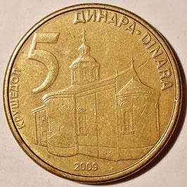 Serbia 5 Dinara 2005-2011 KM#40