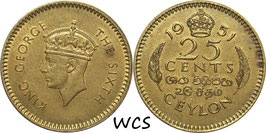 Ceylon 25 Cents 1951 KM#122 VF+