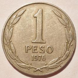 Chile 1 Peso 1976-1977 LIBERTADOR B. O'HIGGINS KM#208