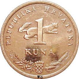Croatia 1 Kuna 1993-Date - Croatian Text KM#9.1