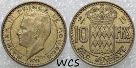Monaco 10 Francs 1951 KM#10 VF