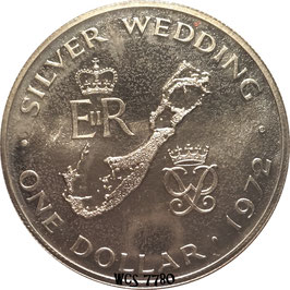 Bermuda 1 Dollar 1972 - 25th Anniversary of the Wedding of Queen Elizabeth II and Prince Philip KM#22 UNC