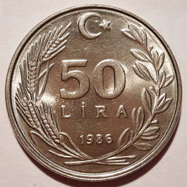 Turkey 50 Lira 1984-1987 KM#966