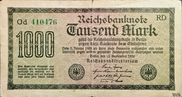 Germany 1000 Mark 15.09.1922 Ro 75m Printer: RD