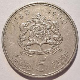 Morocco 5 Dirham 1980 (1400) Y#72