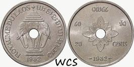 Laos 20 Cents 1952 KM#5 UNC