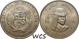 Peru 10 Soles 1974 KM#258 XF