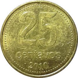 Argentina 25 Centavos 1992-2010 bold letterinng KM#110.2