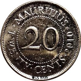 Mauritius 20 Cents 1987-2016 KM#53