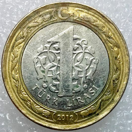 Turkey 1 Lira 2009-2018 KM#1244