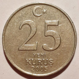 Turkey 25 New Kurus 2005-2008 KM#1167
