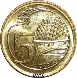 Singapore 5 Cents 2013-2017 KM#345