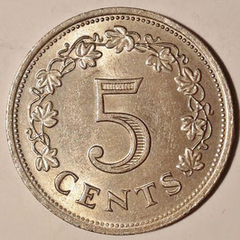 Malta 5 Cents 1972-1981 KM#10