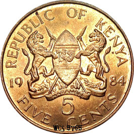 Kenya 5 Cents 1978-1991 KM#17