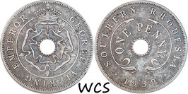 Southern Rhodesia 1 Penny 1939 KM#8 VF-