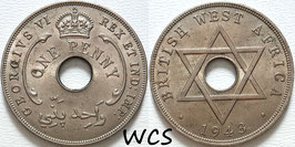 British West Africa 1 Penny 1943 - George VI KM#19 XF
