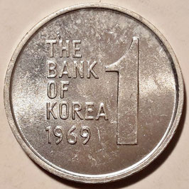 South Korea 1 Won 1968-1982 KM#4a