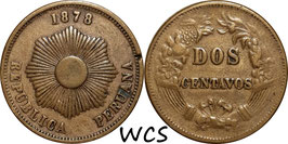 Peru 2 Centavos 1878 KM#188.1a VF-