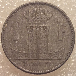 Belgium 1 Franc 1942-1947  BELGIE - BELGIQUE (German Occupation) KM#128