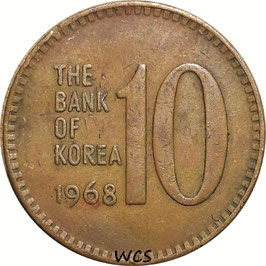 South Korea 10 Won 1966-1970 KM#6