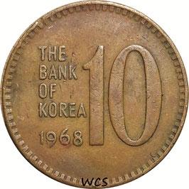 South Korea 10 Won 1966-1970 KM#6