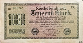 Germany 1000 Mark 15.09.1922 Ro 75m Printer: PG