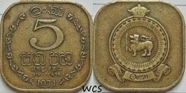 Ceylon 5 Cents 1963-1971 KM#129