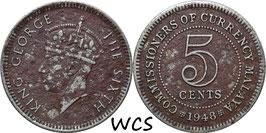 Malaya 5 Cents 1948 KM#7 F