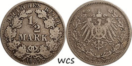 German Empire ½ Mark 1905 A KM#17 F