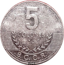 Costa Rica 5 Colons 2008 KM#227b VF