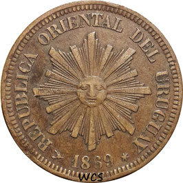 Uruguay 2 Centesimos 1869 H KM#12 VF- (2)