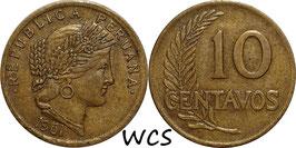 Peru 10 Centavos 1951-1965 KM#224.2