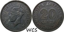 Malaya 20 Cents 1950 KM#9 VF (dark patina)