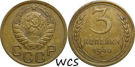 Soviet Union 3 Kopeks 1940 Y#107 VF+