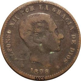 Spain 5 Centimos 1879 KM#674 F+