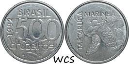 Brazil 500 Cruzeiros 1992-1993 KM#624