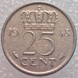 Netherlands 25 Cents 1948 KM#178 VF