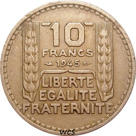 France 10 Francs 1945 short laurel leaves KM#908.1 VF+