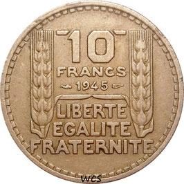 France 10 Francs 1945 short laurel leaves KM#908.1 VF+