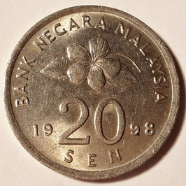 Malaysia 20 Sen 1989-2011 KM#52