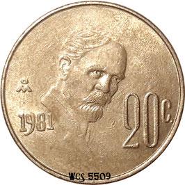 Mexico 20 Centavos 1974-1983 KM#442