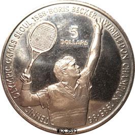 Niue 5 Dollars 1987 - Olympic Games Seoul 1988, Ttennis Boris Becker KM#1 UNC